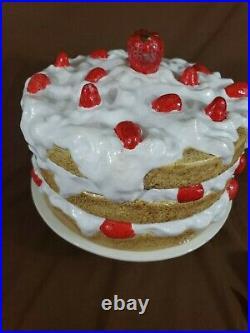 BIG vintage antique Ceramic Strawberry Shortcake Pedestal Cake Stand & Cover USA