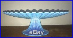 Baby Blue Opalescent Murano Signed Effetre Cake Stand Pedestal Plate Yalos Casa
