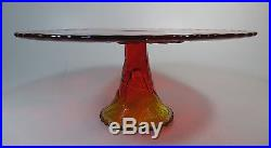 Beautiful Amberina Pedestal Cake Plate 12 Wide