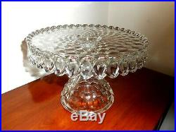 Beautiful Fostoria Glass Pedestal Cake Plate Stand with Brandy Well and Skirt