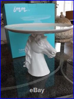 Beautiful Imm Takes The Cake Porcelain Horse Head Pedestal Cake Plate 11x9 NIB
