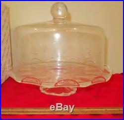 Beautiful Vintage Princess House Heritage Crystal Pedestal Domed Cake Plate 076