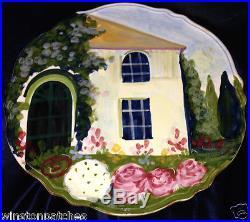 Bellini Piu Italy Art Pottery Italian Landscape Floral Pedestal Cake Plate