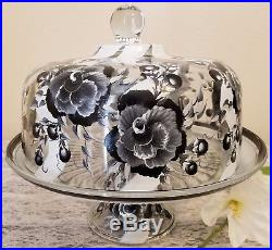 Black and White Roses Cake Pedestal Stand Plate & Dome Hand Painted