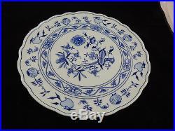 Blue Onion Pedestal Cake Plate Zwiebelmuster Bohemia Made in Czech Republic 12