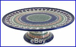 Blue Rose Polish Pottery Aztec Flower Pedestal Cake Plate