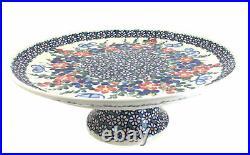 Blue Rose Polish Pottery Garden Butterfly Pedestal Cake Plate