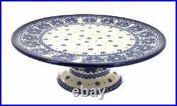 Blue Rose Polish Pottery Spring Blossom Pedestal Cake Plate