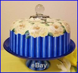 Blue Stripes Yellow Roses Cake Pedestal Stand Plate & Dome Hand Painted