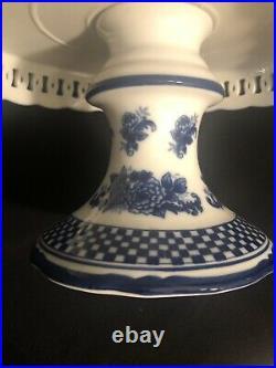 Blue White Pedestal Cake Plate. 11 Wide X 6 Tall Cracker Barrel Collection