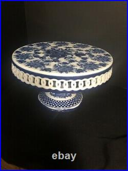 Blue White Pedestal Cake Plate. 11 Wide X 6 Tall Cracker Barrel Collection