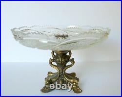 Bohemian Czech Crystal Tazza Cake Plate Metal Pedestal Stand Queens Lace Cut
