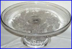 Boston & Sandwich Glass Holly Pedestal Cake Stand Plate EAPG 1860-1870 Rare