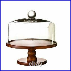 Brown Madera Pedestal Plate with Lid Domed Serving Cake Stand for