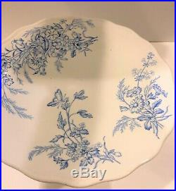 Brown Westhead Moore Company Primavera Blue Floral Pattern Pedestal Cake Plate