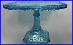 Bryce Brothers Glass Fine Cut Pattern EAPG Blue Pedestal Cake Plate