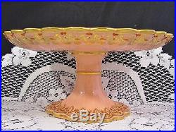 COPELAND c1876 SALMON PINK INTRICATE GOLD PEDESTAL CAKE PLATE