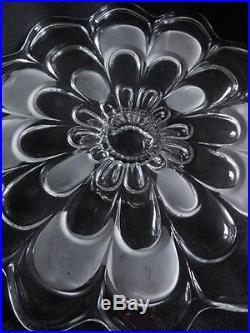 Cake Plate Etched Crystal Elegant Vintage 14 round pedestal Mid Century