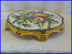 Cake Plate Footed Pedestal Ceramic Art Pottery Vintage Numbered 868/3E Floral