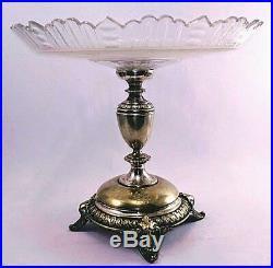 Cake Plate on Pedestal Clear Glass Plate Pressed Pattern Antique 1900 Hungarian