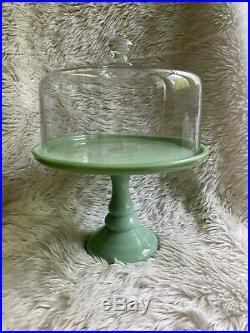 Cake Plates 10.5JADEITE GREEN Glass Pedestal Pastry Cupcake Stand