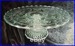 Cake Stand Bird & Strawberry Indiana Glass #157 Plate Pedestal Salver EAPG 1914