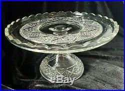 Cake Stand Heisey Cut Block No. 1200 Glass Plate Pedestal EAPG 1896 Diamonds