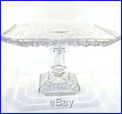 Campbell Jones EAPG Square Octagon Diamond Pattern Pedestal Cake Plate 1883 #83