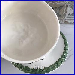 Ceramic Cake Stand Pedestal Plate 12.5 Wide Portugal Ceramics Floral