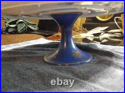 Ceramic Pedestal Cake Plate Floral with Blue Gold Painted EXCELLENT France
