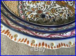 Ceramica De Coimbra Portugal Hand Painted Signed Cake Plate Footed Pedestal Stan