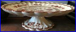 Copeland India Tree Old Mark Pedestal Cake stand & octagonal dessert plate RARE