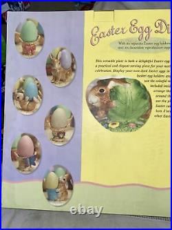 Costco Bunny Cake Desert Pedestal Plate & Easter Egg Holders Display Set #429418