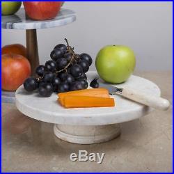 Creative Home Champagne Marble Cake Plate on Pedestal 10 x 10 Beige