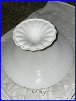 Crown Staffordshire Fine Bone China England Tunis Blue Pedestal Cake Plate Rare