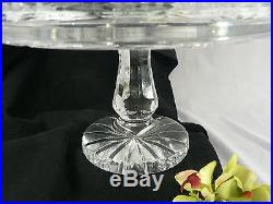 Crystal Cake Plate on a Paneled Pedestal Stem and Base Etched Thick Solid Glass