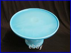 DELPHITE BLUE CAKE PLATE PEDESTAL STAND 10.5 wide Round Robin's Egg