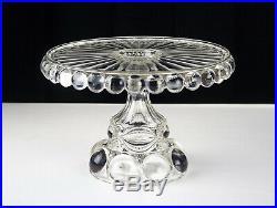 Dalzell Genoese Cake Stand, Antique Original EAPG c1889 Eyewinker Pedestal Plate