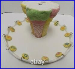 Department 56 Happy Birthday Cake Plate Round Ice Cream Cones Pedestal