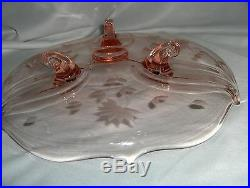 Depression Glass 3 Footed Pedestal Cake Plate Etched Flowers NICE