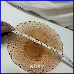 Depression Glass Cake Single Tier Serving Dish Pedestal Plate Orange Peach VTG