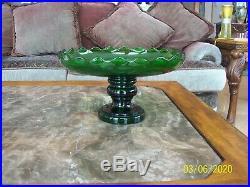 Depression Glass Vtg Emerald Green 2 Piece Scalloped Serving Pedestal Cake Plate