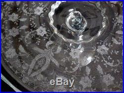 Depression Glassware Elegant Etched Glass Cake Pedestal Stand Collectible Rare