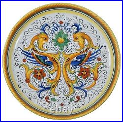 Deruta Italy Raffaellesco Hand Painted Dragon Floral Footed Cake Stand Pedestal