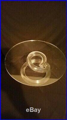 Dorothy Thorpe Mid Century Modern Lucite Clear Cake Stand Pedestal Plate Spiral