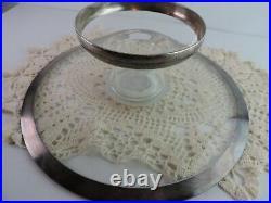 Dorothy Thorpe Silver Band GLASS PEDESTAL CAKE PLATE Baked Goods Stand Vtg