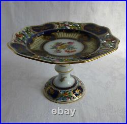 Dresden antique porcelain pedestal cake plate, Carl Thieme