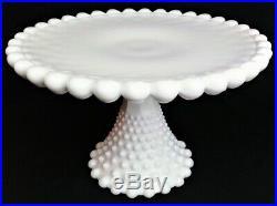 Duncan and Miller Milk Glass Old Giant Hobnail Cake Plate Pedestal Stand 11 ½