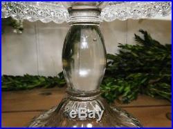 EAPG Dalzell Star Block Daisy Cake Stand Rumwell Skirted Pedestal Plate c. 1885