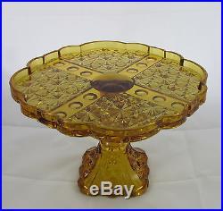 EAPG Pattern Glass Amber Daisy&Button Panel Thumbprint Pedestal Cake Plate Stand
